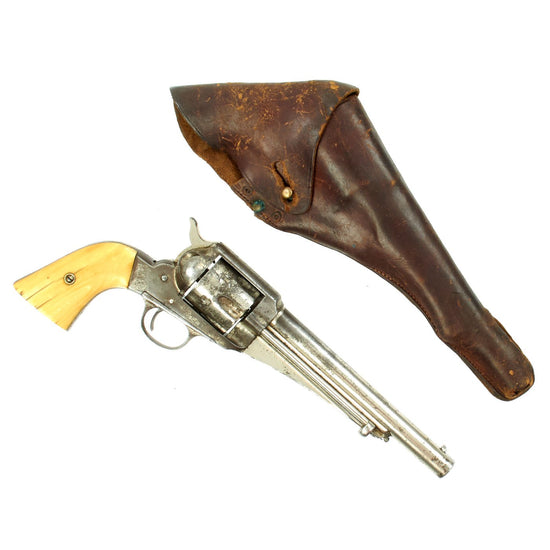 Original U.S. Remington M-1875 Nickel Plated Single Action Army 44cal. Revolver with Holster - Serial No 3543
