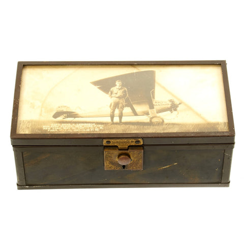 Original Period Charles Lindbergh Spirit of St. Louis Trinket Box with Glazed Photo Lid
