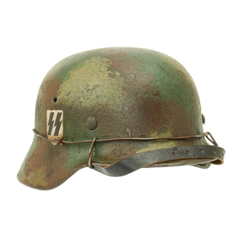 Original German WWII M40 Refurbished Double Decal Normandy SS Helmet - Stamped EF66 Original Items