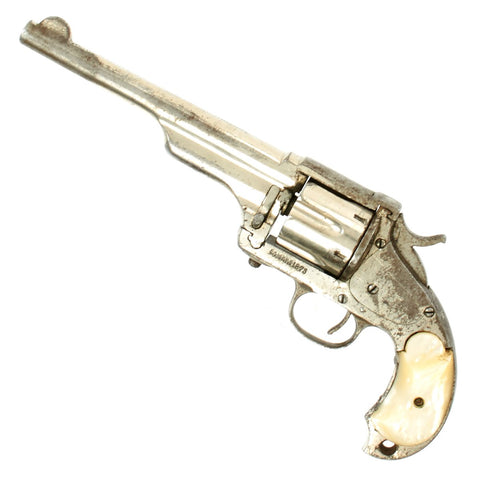 Original U.S. Merwin & Hulbert Nickel-plated 1876 Frontier Army 3rd Model Revolver in .44-40 with Mother of Pearl Grips