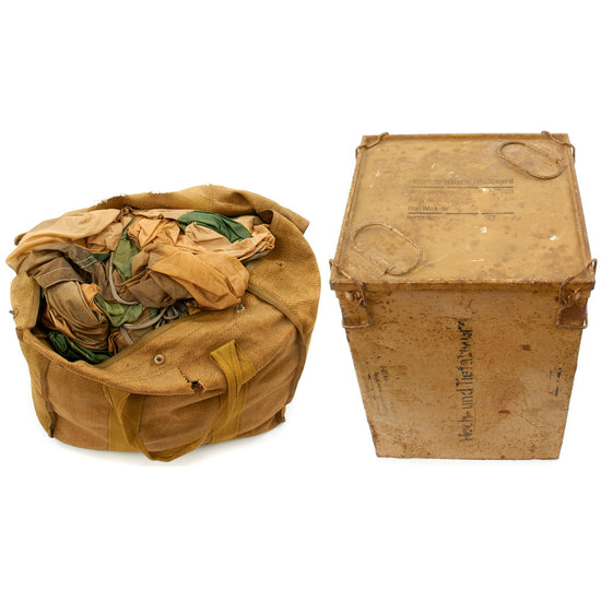 Original German WWII Fallschirmjager Paratrooper RZ36 Delta-Shaped Camouflage Parachute with Bag and Crate