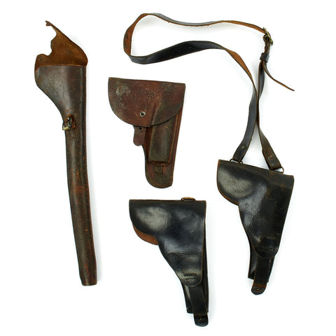 Original Group of Four Leather Holsters Victorian Era to Cold War - Circa 1890 - 1950 Original Items