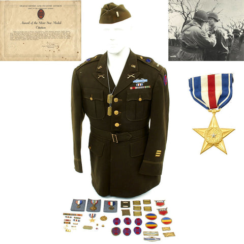 Original U.S. WWII 30th Infantry Division Battle of the Bulge Silver Star Grouping Original Items