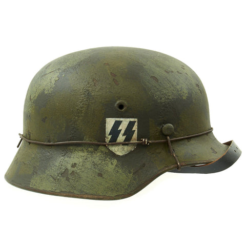 Original German WWII M40 Refurbished WWII SS Double Decal Autumn Camo Helmet - Stamped Q66 Original Items