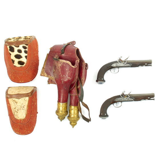Original French Napoleonic Boutet Flintlock Pistols with Saddle Holster of General Pierre-Louis Binet de Marcognet