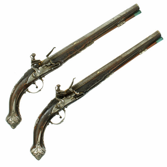 Original Pair of Italian Silver Mounted Flintlock Pistols marked by the Chinelli Family of Gardone c. 1700
