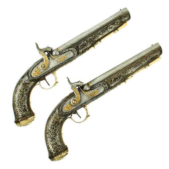 Original Pair of Highest Quality Anglo-Indian Fully Inlaid and Engraved London Marked Percussion Pistols