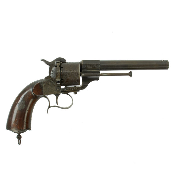 Original Civil War Era Engraved French M1854 Lefaucheux Cavalry Model 12mm Pinfire Revolver - Serial 23447