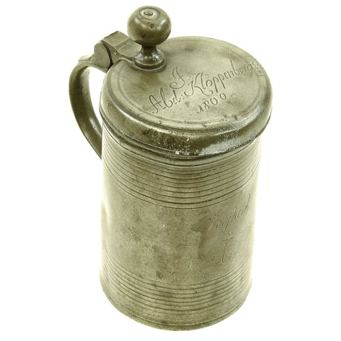 Original Dutch Napoleonic Named Naval Pewter Lidded Tankard from the ship Vrijheid - dated 1800 Original Items