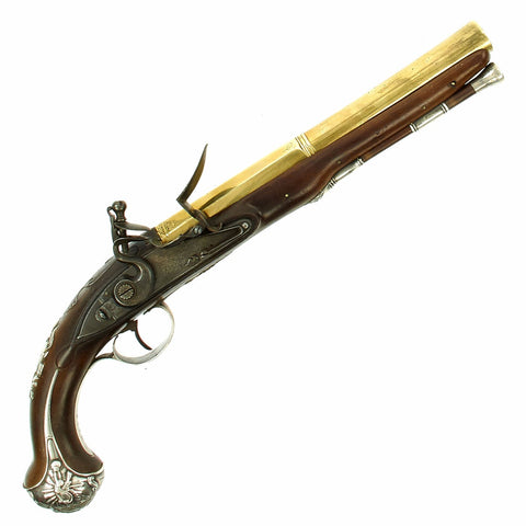 Original British Silver Mounted Officer's Flintlock Pistol by Brander of London with 1772 Hallmarks