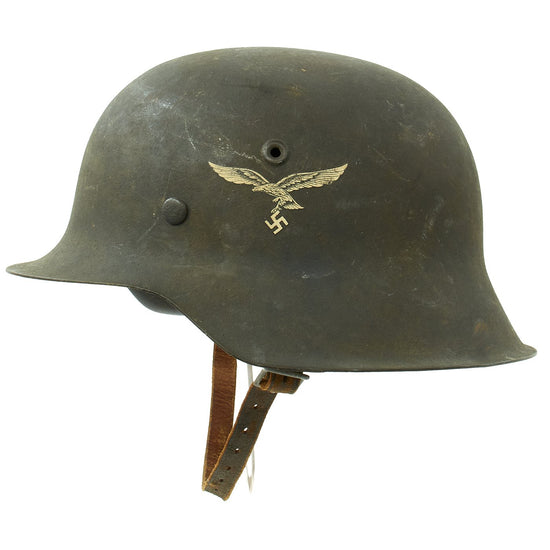Original German WWII M42 Single Decal Luftwaffe Helmet with Textured Paint - stamped NS64