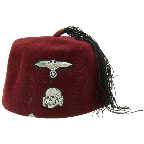 Original German WWII Waffen SS M43 Maroon Parade Fez for Foreign Volunteers Original Items