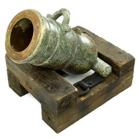 Original French Early 19th Century Bronze Mortar with Gargoyle Touch Hole and Serpent Arch