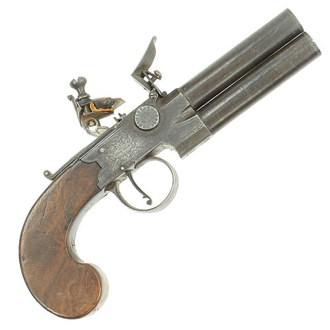 Original British Over & Under Flintlock Double Barrel Tap Action Pistol by Ryan & Watson c. 1770 - 1795