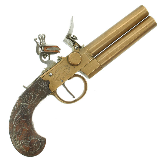 Original British Over & Under Flintlock Double Barrel Brass Tap Action Pistol by Richard of London c. 1780
