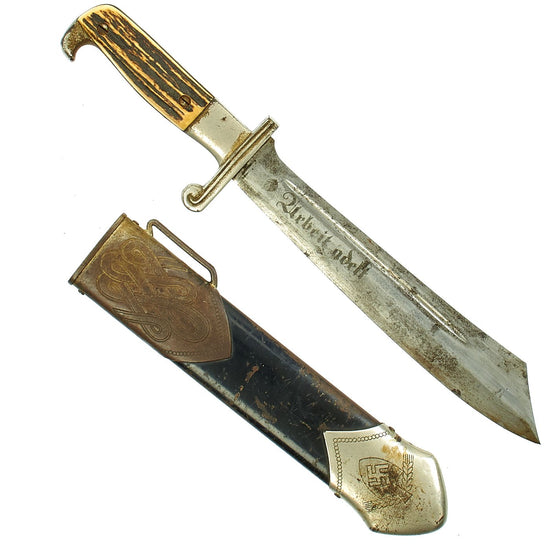 Original German WWII RAD Labor Corps Enlisted Mans Hewer by Carl Eickhorn with Scabbard