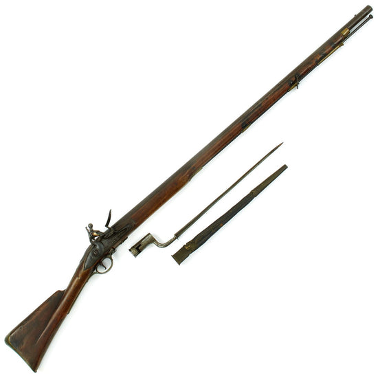 Original Revolutionary War British Short Land Brown Pattern Bess Flintlock Musket with Bayonet - 17th Regiment