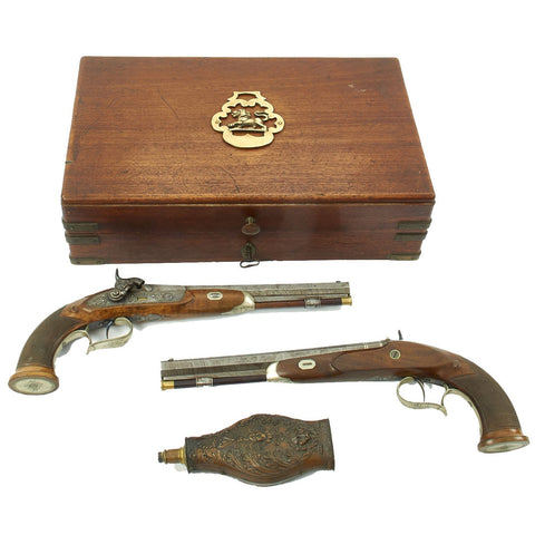 Original German Cased Pair of High-End Percussion Rifled Pistols by Klawitter of Herzberg with Accessories - c. 1835 Original Items