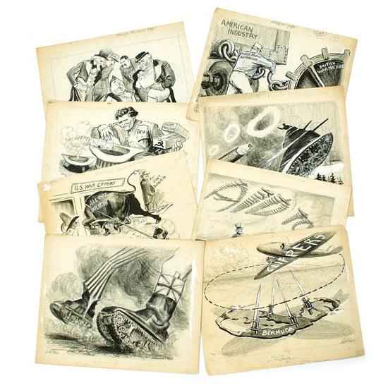 Original U.S. WWII - Cold War Archive of Pulitzer Prize Winning Political Cartoonist Lute Pease c. 1943 - 1949 Original Items