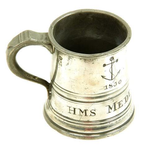 Original British Victorian Naval 1/2 PINT Pewter Tankard Rum Measure for Grog from H.M.S. MEDEA dated 1850 Original Items