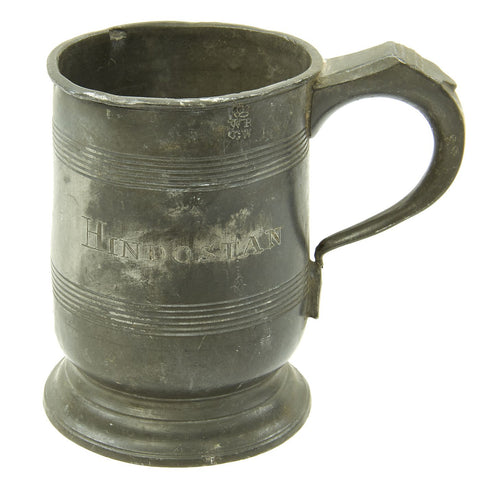 Original British EIC Pewter Half Pint Naval Rum Measure from East Indiaman HINDOSTAN - Dated 1801 Original Items