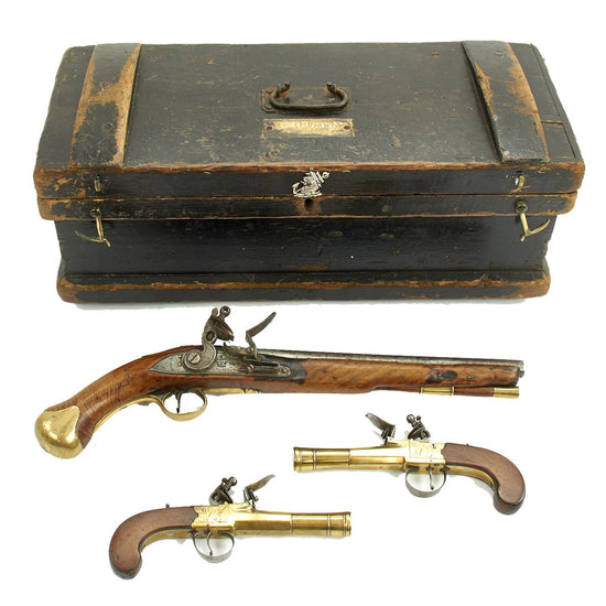 Original British Named Royal Navy Officer's Sea Chest Converted to Hold Three Flintlock Pistols from His Service 1772 – 1847 Original Items