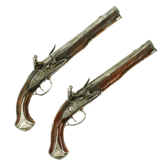 Original French Pair of Silver Mounted Flintlock Pistols by Jean Sout marked to Québec Owner c. 1760