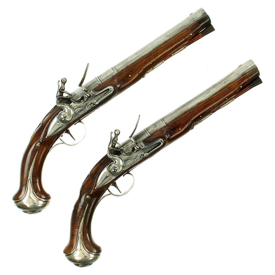 Original Magnificent Pair of English Silver Mounted Flintlock Pistols by James Freeman of London - Circa 1715
