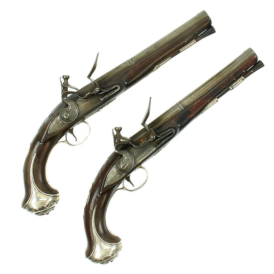 Original British Revolutionary War Era Sterling Silver Mounted and Hallmarked Flintlock Pistols by Thomas Bate - Circa 1771