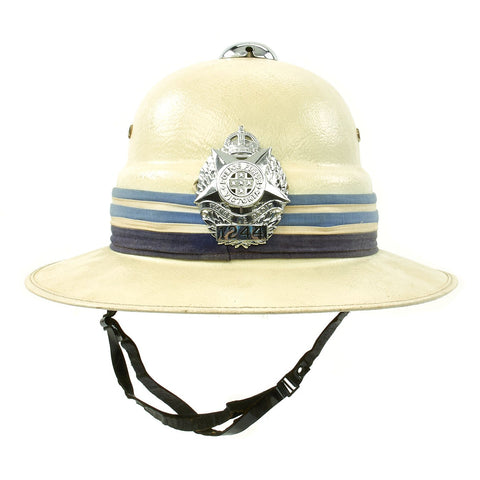 Original Australian Victoria Police Force Fiber Pith Helmet with George VI King's Crown c. 1950 Original Items