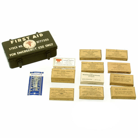 Original U.S WWII Jeep Emergency First Aid Kit 12 Unit - Complete Unissued Original Items