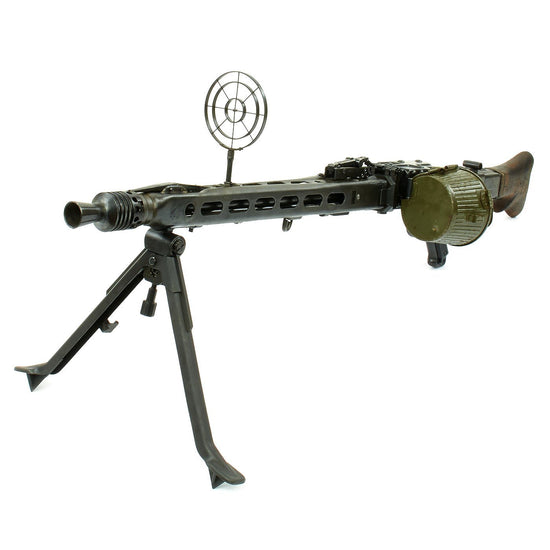 Original German WWII MG 42 Display Machine Gun by Mauser with A.A. Sight and Dated Belt Drum Original Items