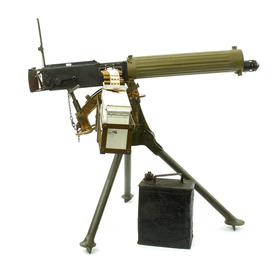 Original British WWI Fluted Jacket Vickers Display Machine Gun with 1918 Dated Tripod and Accessories Original Items