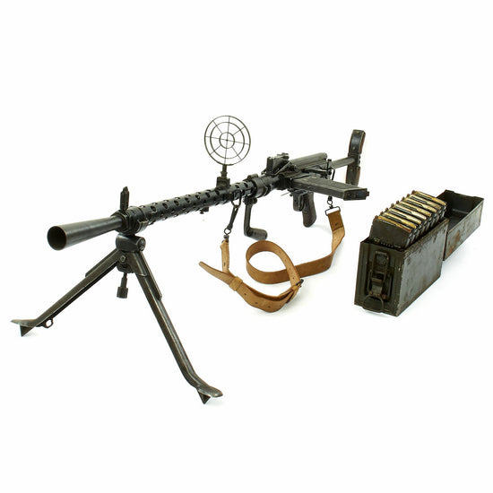 Original German WWII MG 13 Display Light Machine Gun with Magazines in Transit Chest - Maschinengewehr 13