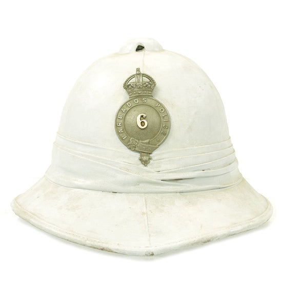 Original British WWII King's Crown marked Barbados Police White Pith Helmet with Puggaree