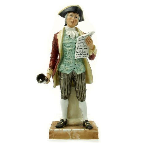 "Original U.S. Collector's Revolutionary War Town Crier Porcelain Figurine - 12 1/2"" Tall Original Items"