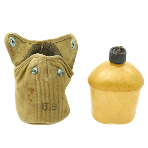 Original U.S. WWII Experimental Ethocellulose Plastic Canteen by ANOS with Infantry Carrier - dated 1943 & 44 Original Items
