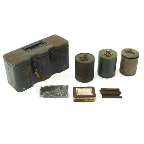 Original WWII Set of Three German Bouncing Betty S-Mines in Transit Chest with Fuses in Bakelite Case Original Items