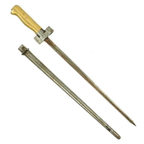 Original French WWI Lebel M.1886/93/16 Brass Handle Cruciform Shortened Épée Bayonet with Steel Scabbard Original Items