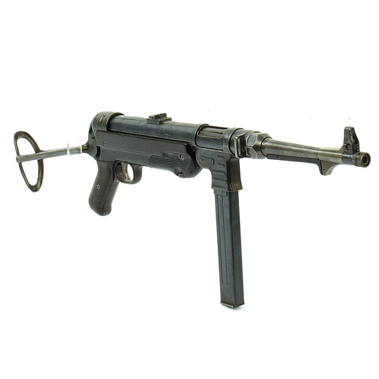 Original German WWII 1940 Dated MP 40 Display Gun by C.G. Haenel with Live Barrel & Magazine - Maschinenpistole 40
