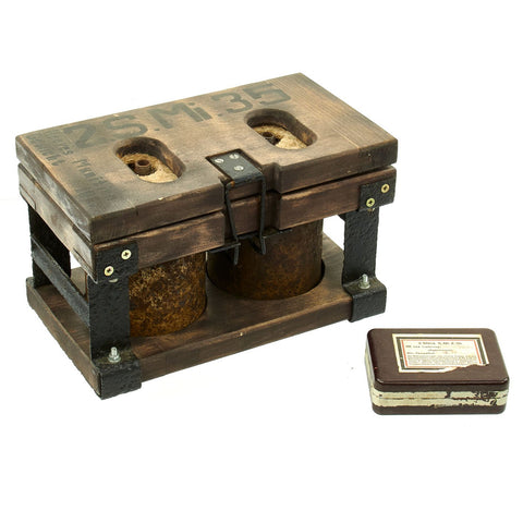 Original WWII German Bouncing Betty S-Mines in Double Transit Chest with Fuses Original Items
