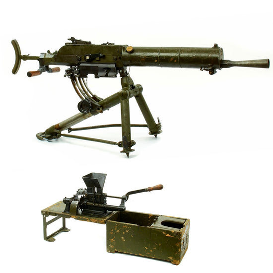 Original WWI Austro-Hungarian Schwarzlose 8mm MG M.07/12 Display Machine Gun with Tripod and Belt Loader Original Items