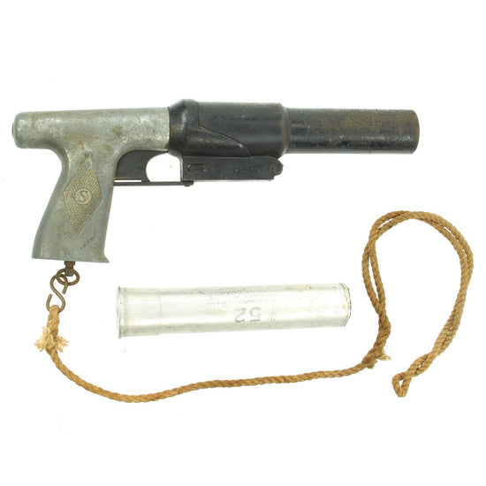 Original WWII U.S. Coston-Sedgley 37mm Parachute Flare Signal Pistol with Lanyard and 1943 Dummy Flare