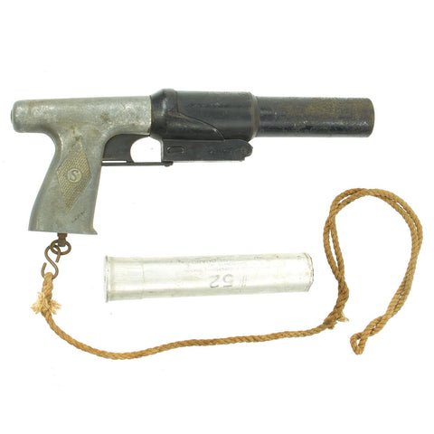 Original WWII U.S. Coston-Sedgley 37mm Parachute Flare Signal Pistol with Lanyard and 1943 Dummy Flare Original Items