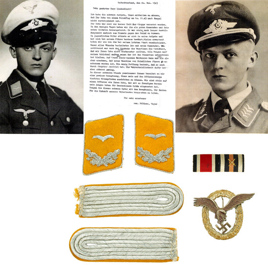 Original German WWII Luftwaffe Officer Pilot KIA Medal and Insignia Identified Grouping Original Items