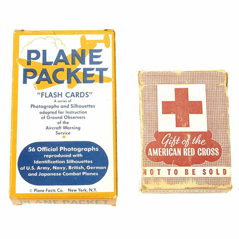 Original U.S. WWII Plane Identification Flash Cards and American Red Cross Playing Cards Set Original Items