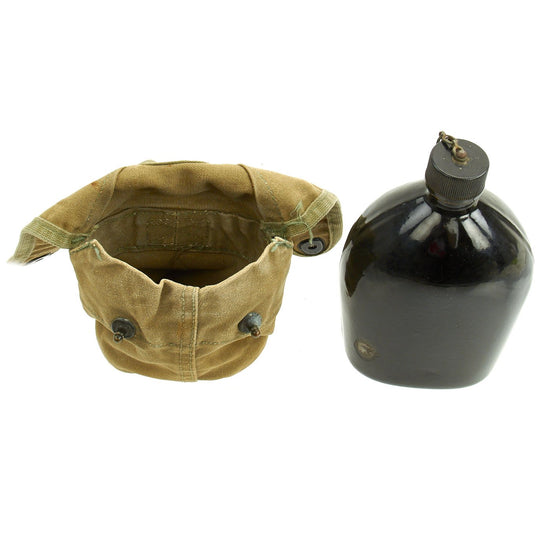 Original U.S. WWII Rare M1942 Black Porcelain Enamel Canteen in 4th Pattern USMC Carrier Original Items