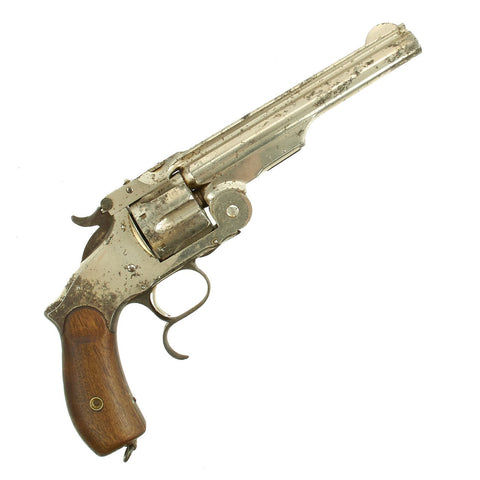 "Original U.S. Smith & Wesson Nickel-Plated Russian Third Model No. 3 Revolver with ""SH"" Marking - Serial 42835 Original Items"
