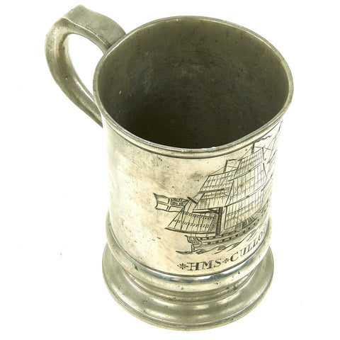 Original British Napoleonic Pewter Naval Pint Tankard marked to HMS Culloden 1783-1813 - Battle of the Nile