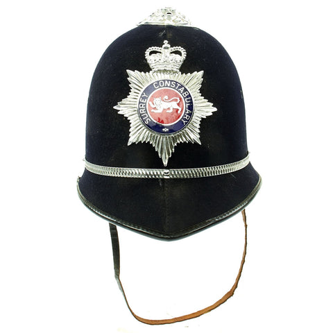 Original British Rose Top Queen's Crown Police Bobby Helmet from the Surrey Constabulary Original Items
